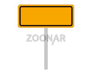Ortsschild aus Slowenien auf weiss - Road sign of Slovenia on white