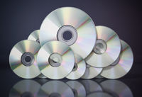 DVD or CD discs arranged as a cloud symbol. Data storage concept. 3D illustration