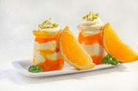 Curd dessert with orange mousse.