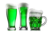Natural organic green beer in the different glasses.
