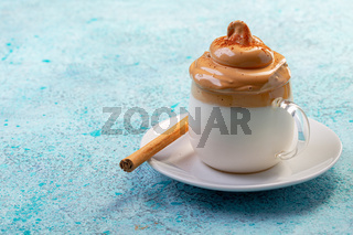 Dalgona coffee. Trendy Korean drink.