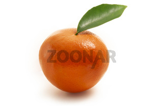 Single mandarin with leaf isolated