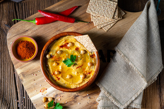Delicious hummus paste with lemon and chilli