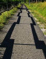 Schattenspiele auf einem Fahrradweg am Fuße der Schwäbischen Alb