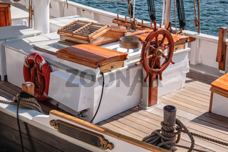 Helm of an old sailing boat