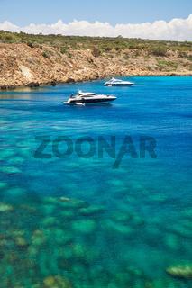 Blue lagoon at Cape Greko coast. Cyprus