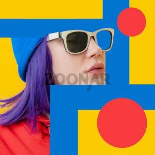 Art collage with close up fashion portrait young beautiful woman. Unusual youth fashion. Creative vogue concept poster in contemporary pop art style. Retro design. Funky minimalism. Zine culture.