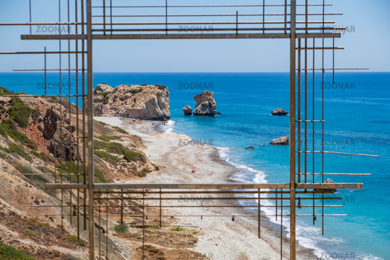 Petra tou Romiou or Aphrodite's Rock seen through Ten Poiins of Vision installation artwork of Costas Tsoclis