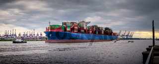 Large container ship in the port of Hamburg