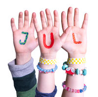 Children Hands Building Word Jul Means Christmas, Isolated Background
