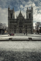 Front of the Nidaros cathedral in Trondheim on cold winter day