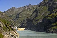 Mauvoisin water reservoir, Lac de Mauvoisin, Val de Bagnes, Valais, Switzerland