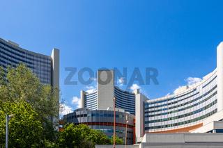 Panoramic View on Buildings of United Nations Organization (UNO), ger. Vereinte Nationen in Danube City, Vienna, Austria, Europe