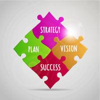 Jigsaw SWOT analysis strategy. Vector illustration