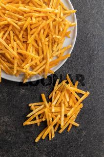 French fries. Fried mini potato sticks.