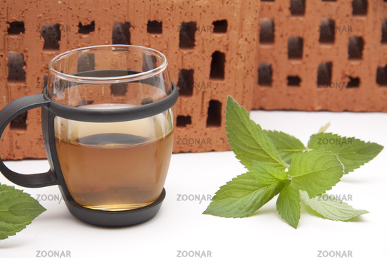 Peppermint tea with peppermint sheets