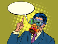 Quarantine epidemic. A politician or businessman warns of danger. Full face protective mask