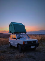 Roof Top Tent with Panda 4x4 and beautiful sunset, Tuscany Italy, wonderlust, off road car
