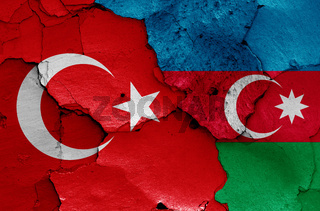 flags of Turkey and Azerbaijan painted on cracked wall