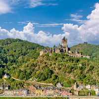 Cochem town in Germany on Moselle river with Reichsburg castle