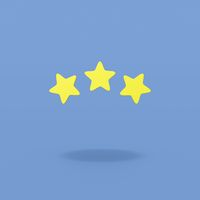 Three Stars on Blue Background