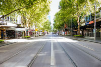 Melbourne's Swanston St is Quiet during the Coronavirus Pandemic