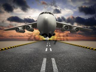Passenger or cargo airplane taking off at sunset