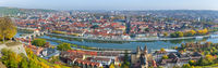 panorama view to old town of Wurzburg in germany