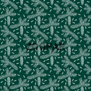 Spruce seamless pattern isolated on green. Picea branch, cone, seed.