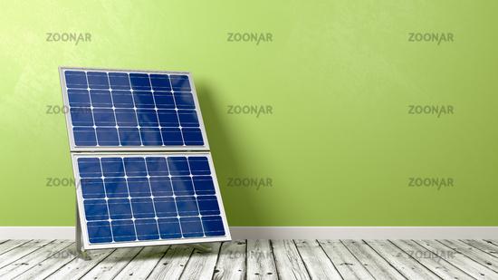 Solar Panel on Wooden Floor Against Wall