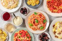 Pasta, various dishes, overhead flat lay shot, Italian food