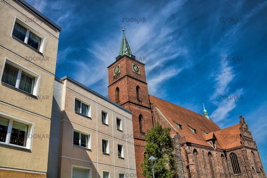 Bernau near Berlin, Germany - April 30th, 2019 - Panel construction and church of St. Mary