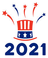 Flat Raster Uncle Sam 2021 Salute Icon in American Democratic Colors with Stars