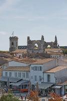 Aerial view of Saint Martin de Re from Church Saint-Martin in Ile de Re in France