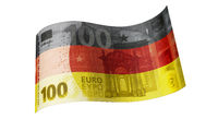 100 Euro note in black, red and gold (German flag)