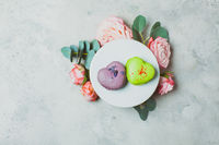 Wonderful macaroons as a decoration for a romantic event