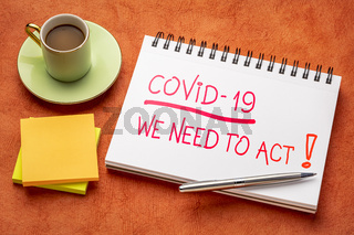 Covid-19, we need to act - motivational reminder