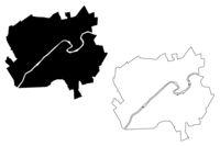 Valmiera City (Republic of Latvia, Administrative divisions of Latvia, Republican cities) map vector illustration, scribble sketch Valmiera map