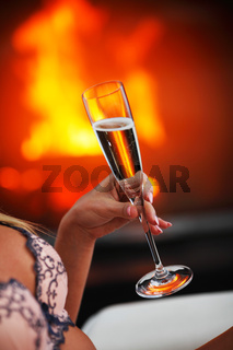 Champagne in woman hand