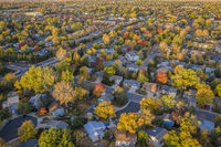 fall colors under wildfire smoke - aerial cityscape of Fort Collins
