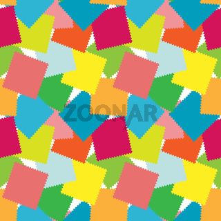 Illustration, drawing - a seamless pattern of colored square shreds.