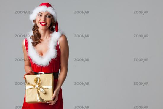 Girl with christmas gift box