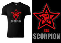 Black T-shirt Design with Scorpion in Red Star