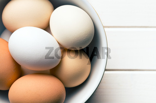 top view of chicken eggs