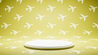 Empty White Platform on Airplane Shape Pattern Studio Background