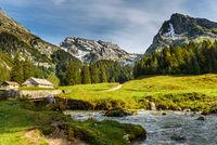 Pastureland with view of the Saentis and the Wildhuser Schafberg, Toggenburg, Switzerland