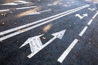 Traffic sign white arrows on asphalt road