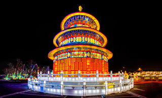 pagoda lantern festival by night with beatiful chinese light decorations