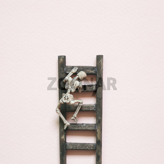 Wooden ladder and skeleton on pink background