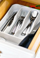Kitchen drawer with flatware close up view